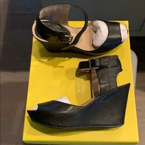 Black wedge sandals. Kenneth Cole reaction.